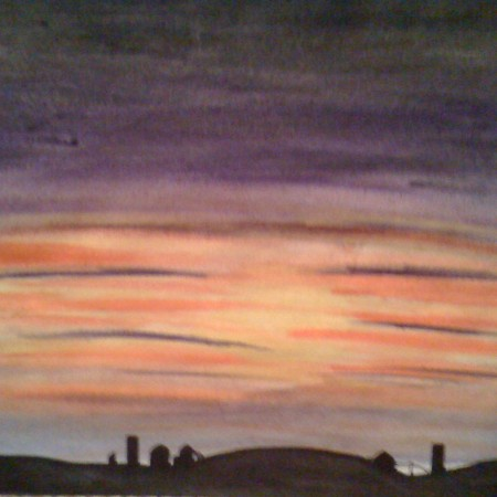 Country Sunset - Watercolor with Pen & Ink